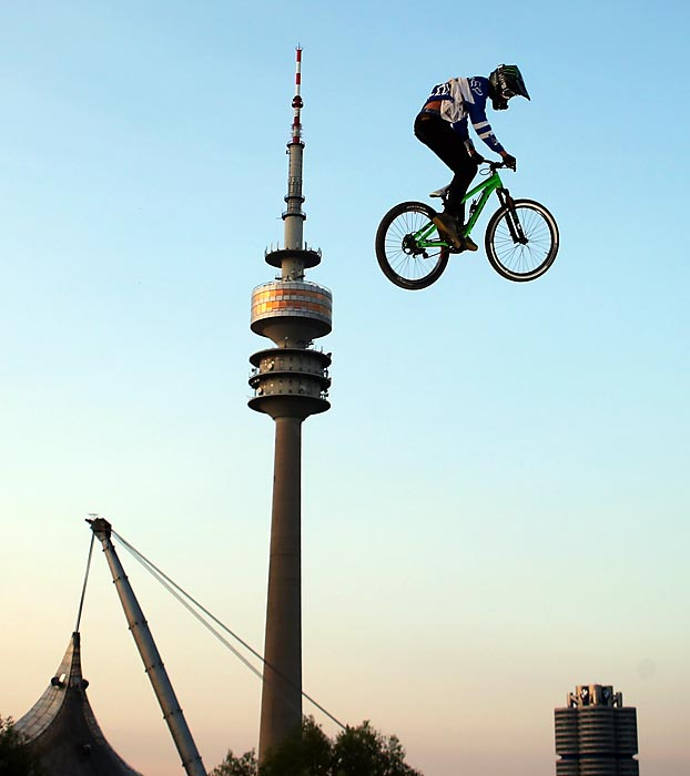 Brett Rheeder of Canada competes in the Mountain Bike Slopestyle Final at the X Games in Munich, Germany.