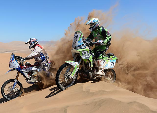 Diego Demelchori and Simon Pavey compete in the Dakar Rally in Copiapo, Argentina.