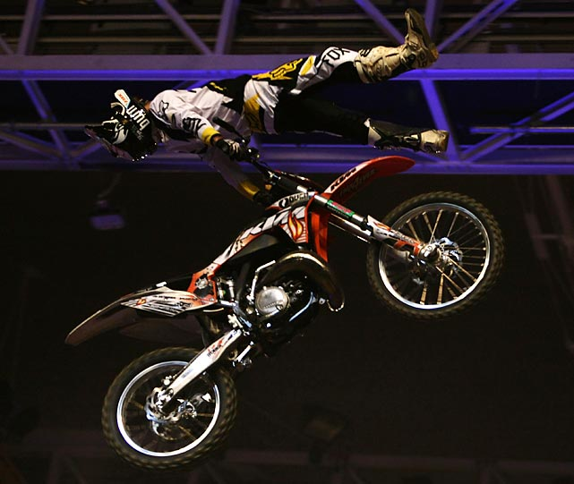 Jose Miralles of Spain competes during the Night of the Jumps freestyle motocross European Championships Series in Munich.