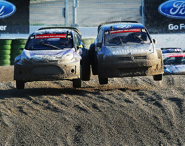 DTM driver Mattias Ekstroem (right) of Sweden competes with the USA's Townsend Bell in the Ford RallyCross competition at the X Games in Munich.