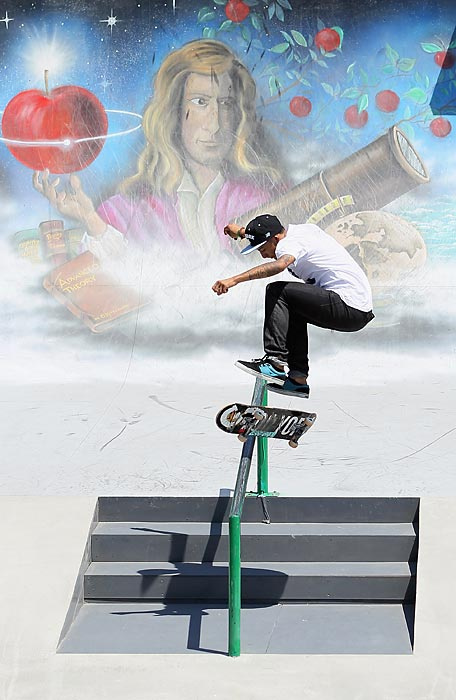 Chaz Ortiz competes in the Skateboard Street Final during the X Games in Los Angeles.