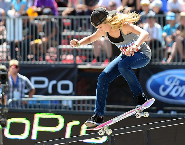 Alana Smith, 12, competes in the Skateboard Street Final at the X Games in Los Angeles