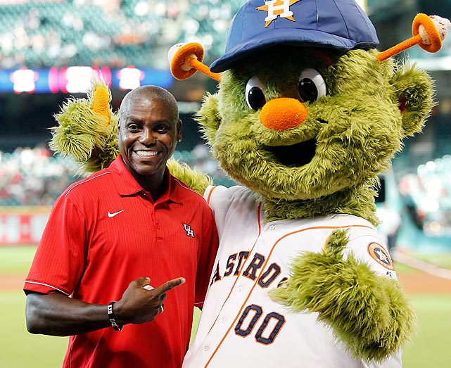 The former Olympic gold medalist and noted anthem singer yukked it up with Orbit the Astros mascot at Minute Maid Park after terrorizing the locals with his ceremonial first pitch.