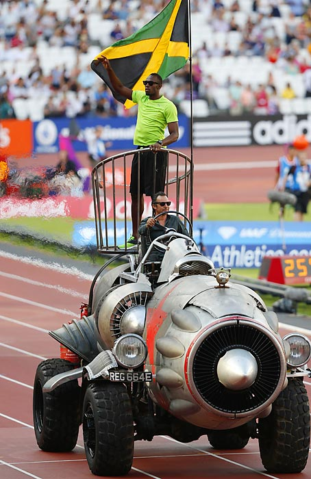 Rocket cars, lightning bolts, it's all part of the arsenal for the world's greatest sprinter...