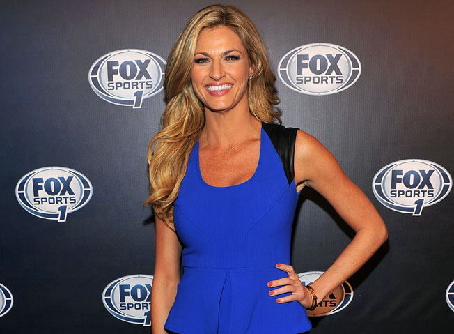 A longtime sideline reporter, Erin Andrews is still getting used to anchoring coverage from the studio.