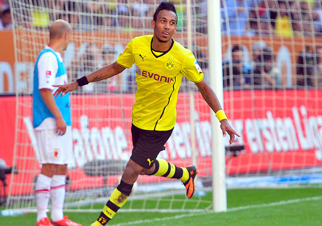 Pierre-Emerick Aubameyang scored once in the first half and twice in the second during his Dortmund debut.