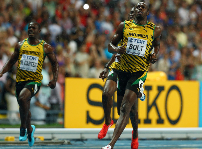 Usain Bolt's 9.77 seconds in the 100 meters was enough to claim the gold in Moscow.