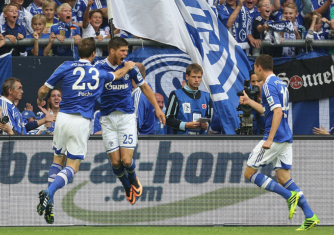 Klaas-Jan Huntelaar (second from left) scored twice during the first half for Schalke.