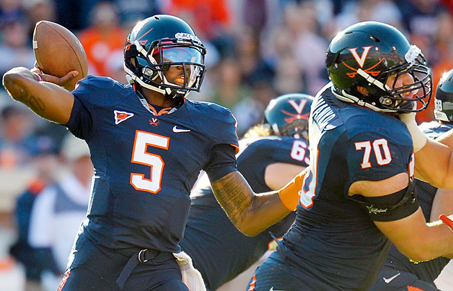 Virginia coach Mike London announced David Watford (5) will be the Cavs starting quarterback in 2013.