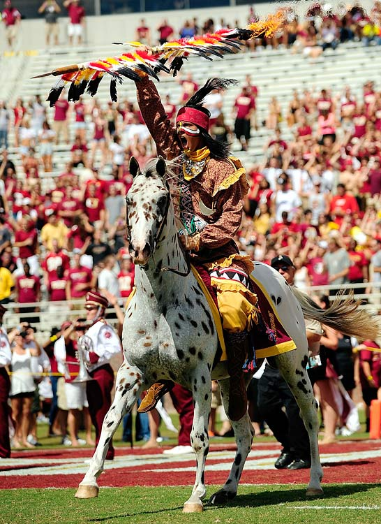 #1: Florida State's Chief Osceola — This is as good as it gets: A dude decked out in full gear, riding a horse at full speed and throwing a flaming spear into the ground. If it were at all possible, I'd rank this mascot even higher than No. 1.                            — Honrable mentions: Reveille (Texas A&M), Bucky Badger (Wisconsin), Brutus (Ohio State), Falcon (Air Force), The Leprechaun (Notre Dame), The Traveler (USC), Tusk (Arkansas), The Hokie Bird (Virginia Tech), The Masked Rider (Texas Tech), The Zip (Akron).