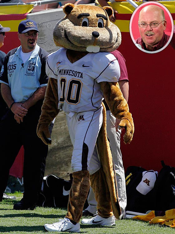 #25: Minnesota's Goldy Gopher — When your mascot resembles your now-retired coach, Jerry Kill (inset), you're going to make the list.