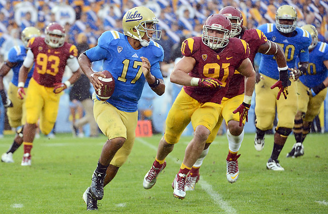 Brett Hundley set UCLA records for passing yards (3,745) and total yards (4,095) last season.