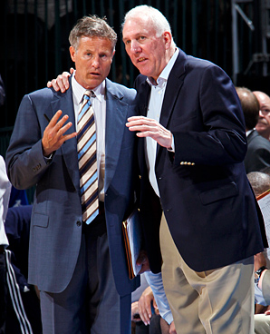 Brett Brown (left) spent the last 11 years working for Gregg Popovich in San Antonio.