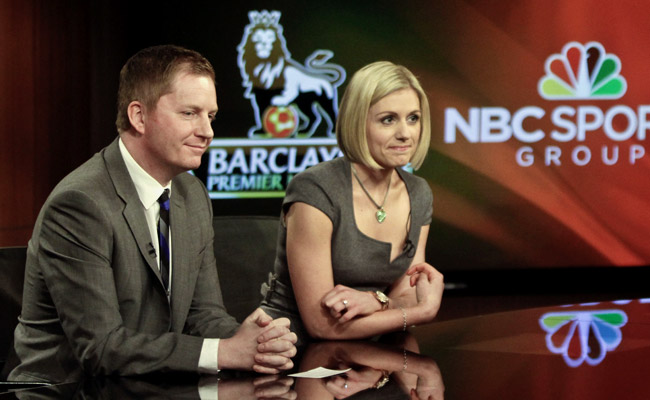 Arlo White is NBC's lead EPL broadcaster; Rebecca Lowe will host pre- and post-match studio shows.