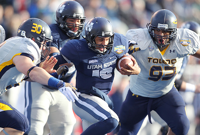 Utah State routed Toledo 41-15 in the Famous Idaho Potato Bowl in 2012.