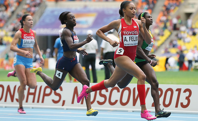 Olympic champion Allyson Felix had the fastest time in the 200, finishing in 22.59.