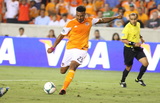 Giles Barnes stole the show from Clint Dempsey with two goals in a 3tangling-1 Dynamo win.