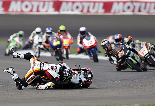 Jack Miller of Austrlia wrecks during the Indianapolis Grand Prix Moto3 motorcycle race on Aug. 18.