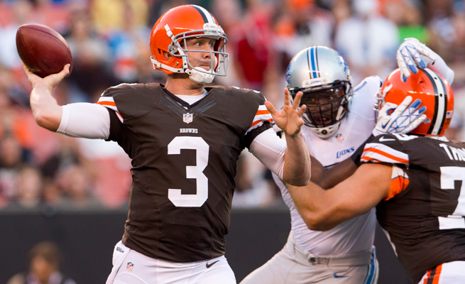 Brandon Weeden threw for 3,385 yards with 14 touchdowns and 17 interceptions as a rookie last season.