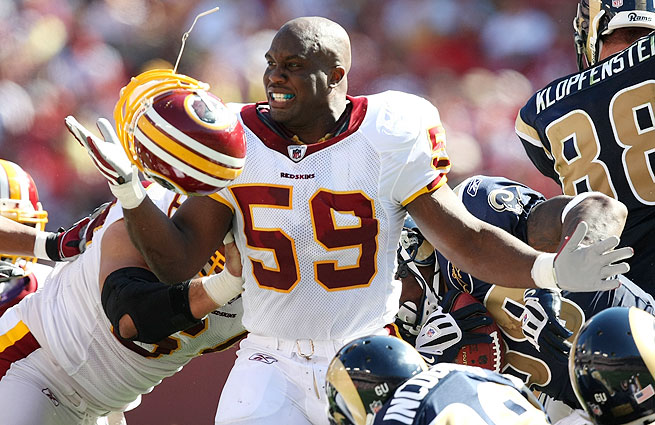 London Fletcher has played 15 years in the NFL, spending time with the Redskins, Bills and Rams.