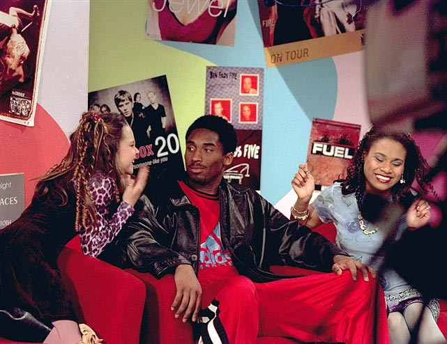 Kobe looks concerned as Amanda Bynes acts a little crazy during taping of the show <italics>All That</italics> in 1998.