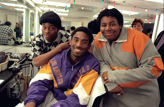 Kobe poses with Kel Mitchell and Kenan Thompson in the make-up room before taping of the show <italics>All That</italics> in 1998.