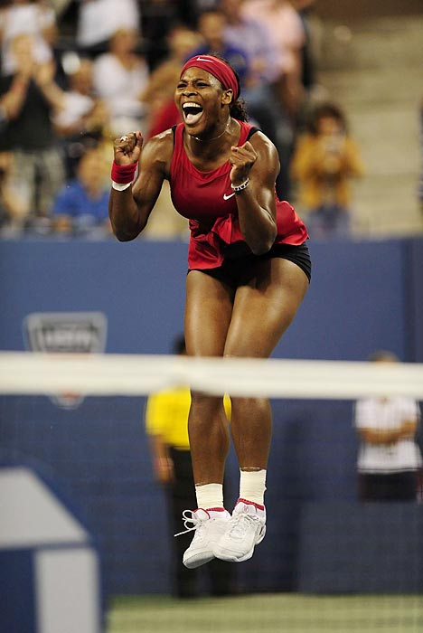 Williams reacts after defeating Jelena Jankovic to win the 2008 title.