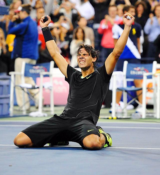 Rafael Nadal rejoices after winning his first U.S. Open title. The victory also gave him a Career Slam.