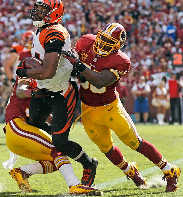 We really hate to do this, because this guy is a freak of nature. He led the Redskins with five interceptions in 2012, and his veteran savvy allows him to take angles that few 38-year-old linebackers should be able to. Still, there have to be concerns. Last season, Fletcher racked up 10 blown tackles and ranked 108th among NFL defenders in stop rate (Football Outsiders' metric which determines the percentage of successful plays prevented) against the run. Fletcher is still important to that defense, but as it was for the Ravens with Ray Lewis last season, the Redskins will have to weigh importance against performance.
