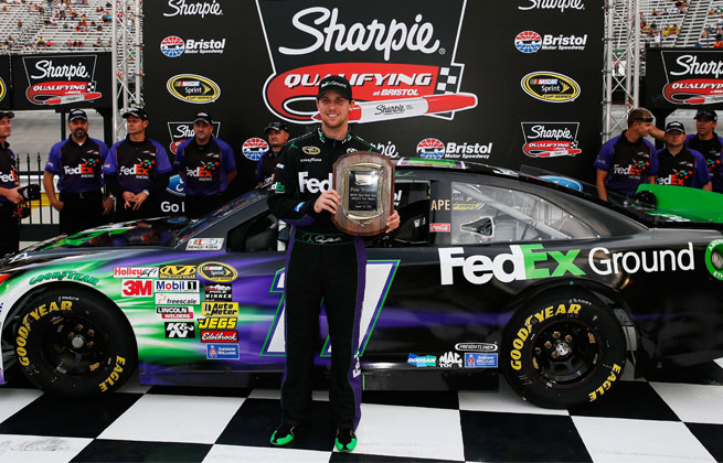 Hamlin turned a lap at 128.969 mph in Friday qualifying to take the top starting spot at Bristol.