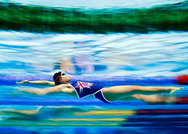 A swimmer trains during day six of the 2nd Asian Youth Games in Nanjing, China.