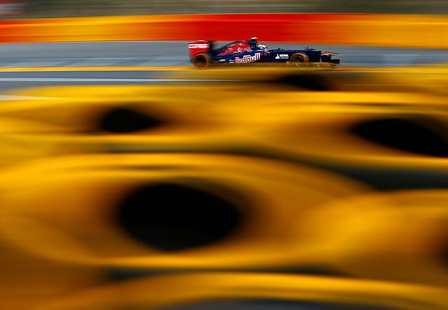 Daniel Ricciardo of Australia practices for the Belgian Grand Prix at Circuit de Spa-Francorchamps in Belgium