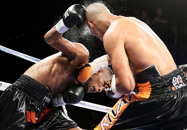 Danny Jacobs lands a punch on Giovanni Lorenzo during their junior middleweight fight on Aug. 19 in New York City.