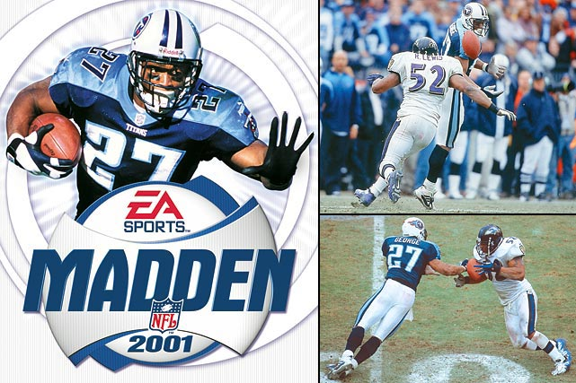George actually had a career-year following his cover appearance in 2000 (1,962 total yards and 16 TDs). However, in a Divisional Playoff game against the Ravens, George bobbled a pass that was intercepted and returned for a touchdown by Ray Lewis in the fourth quarter, sealing a 24-10 loss for the Titans. In 2001, George rushed for less than 1000 yards for the first time in his career and scored just 5 TDs. He never averaged better than 3.4 yards per carry in any successive season.