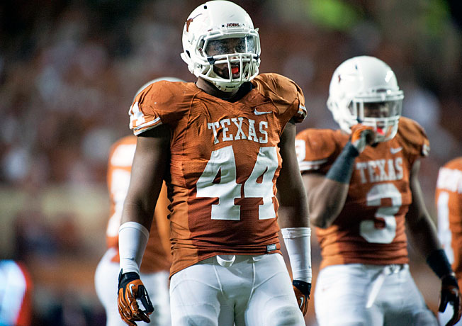 Texas' Jackson Jeffcoat (44) tallied six sacks last season despite missing the team's final seven games.