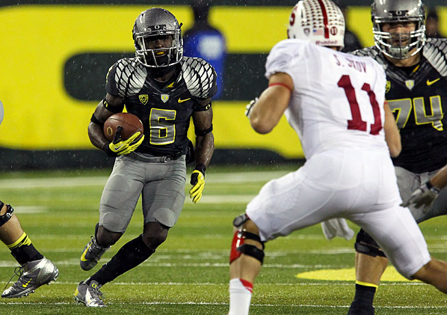 Oregon's De'Anthony Thomas rushed for 43 yards and a score in last year's overtime loss to Stanford.