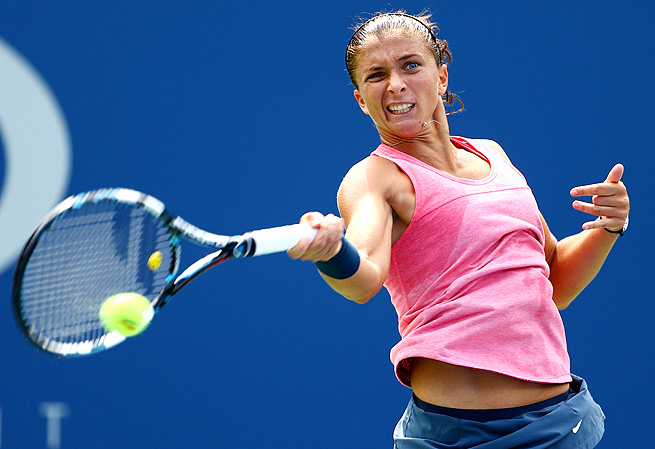No. 4-seeded Sara Errani was upended by fellow Italian Flavia Pennetta 6-3, 6-1.