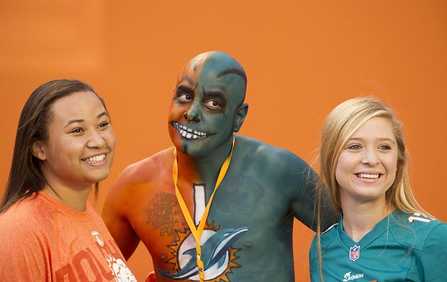 Football season's here and these Tampa Bay Bucs and Miami Dolphins fans at Sun Life Stadium obviously could not be happier.