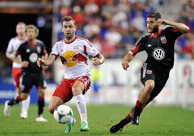Jonny Steele (left) and the Red Bulls scored a lackluster victory over D.C. United on Saturday.