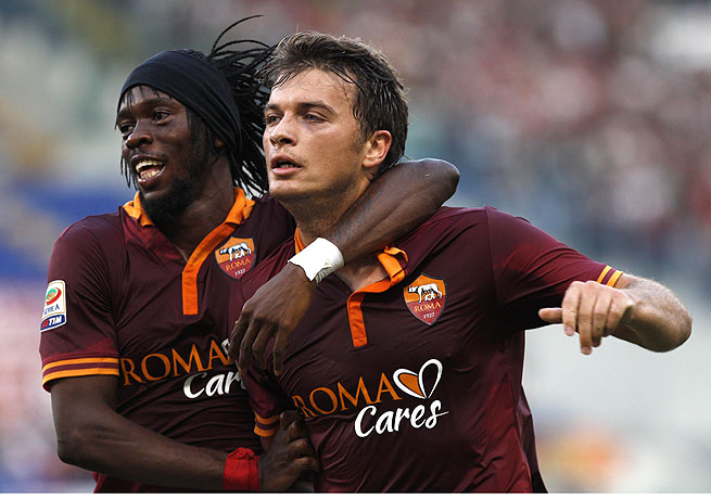 Adem Ljajic (right), seen here with Gervinho, scored in the 66th minute for his first goal with Roma.
