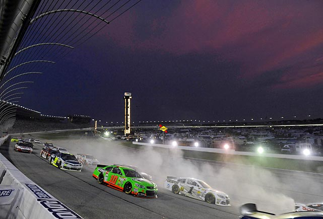 Danica Patrick (10) and Jamie McMurray (1) drive through turn one at the NASCAR Sprint Cup Series AdvoCare 500 at Atlanta Motor Speedway on Sunday. McMurray finished the race in 11th, while Patrick came in 21st.