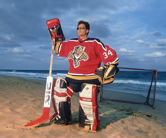 "In honor of John ""Beezer"" Vanbiesbrouck's 50th birthday (Sept. 4), we present this collection of shots of the beloved goaltender from across the years. Here he is gracing a beach in Florida the November after he backstopped the Panthers on a surprise run to the Stanley Cup Final in only their third season."