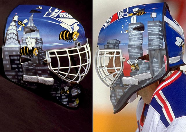 Fittingly, bees buzzing the New York City skyline graced Beezer's Rangers mask.