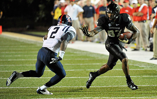 Vandy's Jordan Matthews returned to the game last Thursday moments after throwing up on the field.
