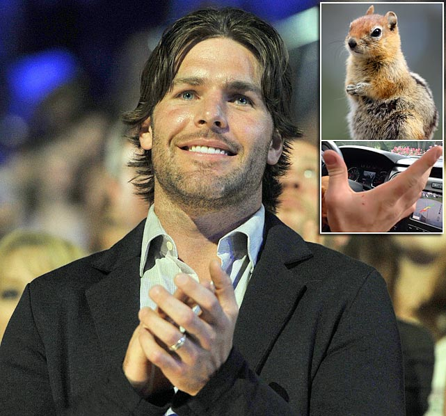 On Labor Day weekend 2013, Mike Fisher of the Nashville Predators was bitten on the hand by a chipmunk that had gotten into his house. The savage attack was captured by Fisher's wife, singer Carrie Underwood, in a Vine video.