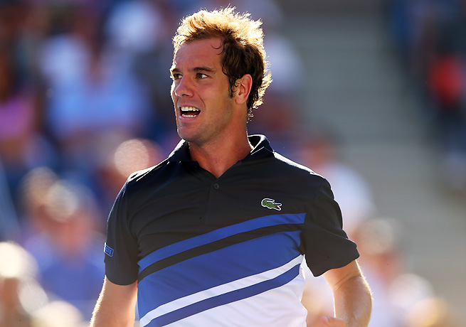 Richard Gasquet almost fumbled away a two-set lead, but won the fifth set over David Ferrer.