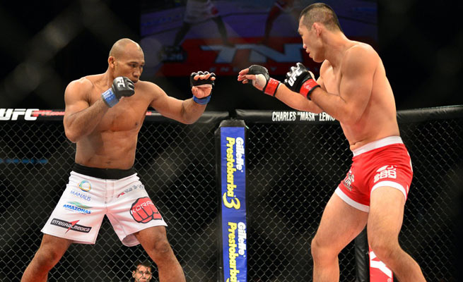 Ronaldo Souza (left) beat Yushin Okami in just 2:47, a win that could set him up for a big bout soon.