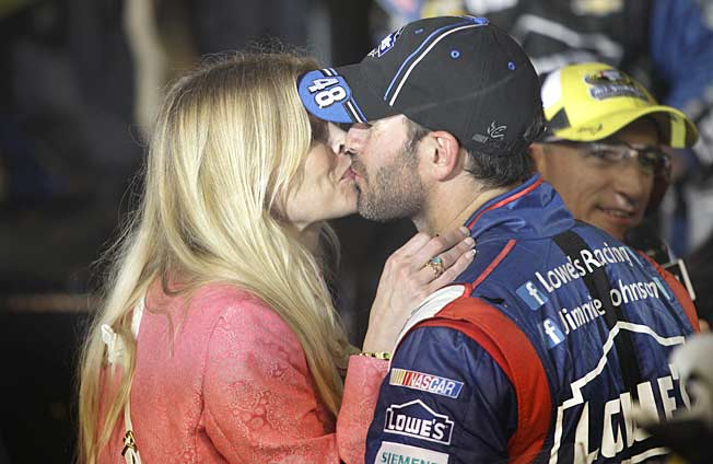 Chandra and current Sprint Cup points leader Jimmie Johnson now have two daughters (below).
