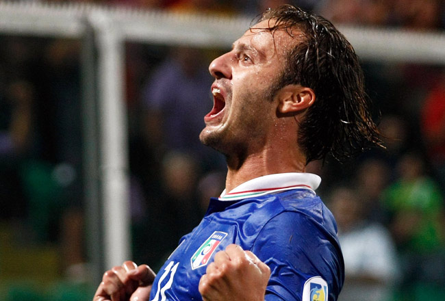 Alberto Gilardino celebrates after scoring the opening goal against Bulgaria.