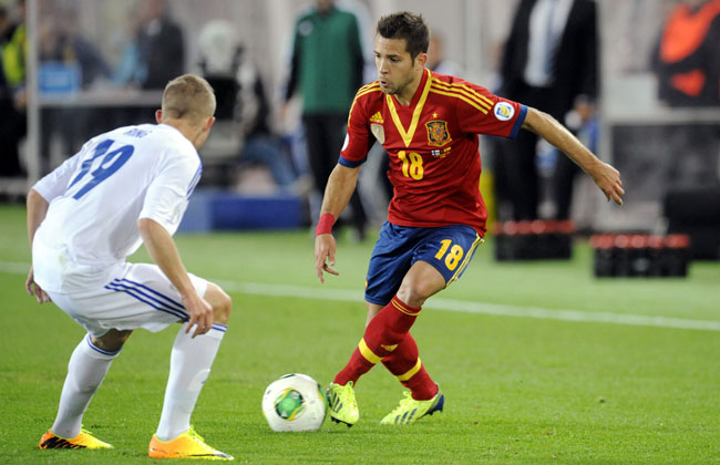 Jordi Alba gave Spain a 1-0 lead over Finland in Helsinki.